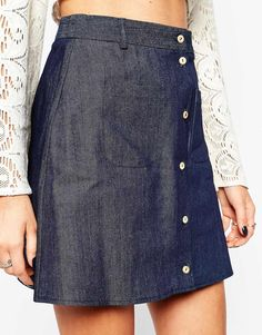 Reclaimed Vintage | Reclaimed Vintage Button Front Mini Skirt With Pocket Detail In Denim at ASOS