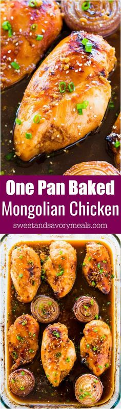 Oven Baked Mongolian Chicken is the perfect combo of sweet and savory. A very easy dish, made in one pan and baked instead of fried. #chicken #mongolian #onepan