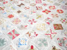 A Quilting Life: she used Christmas fabric for the Farmers Wife Quilt
