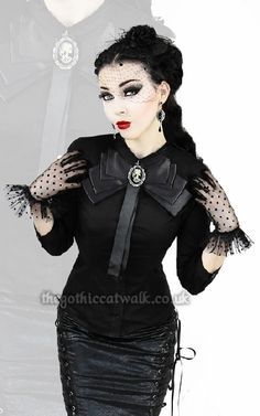 Black Gothic Victorian Blouse with Bow Collar | Women's