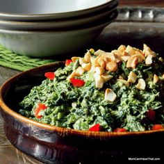 Creamed Coconut Curry Spinach   a fast and easy side   LC CG DF Paleo Vegan   http://momcanihavethat.com
