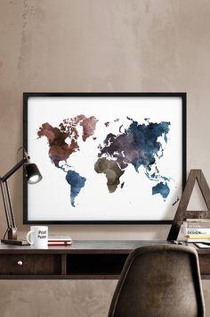 Große Weltkarte Weltkarte drucken Kunstdruck von iPrintPoster