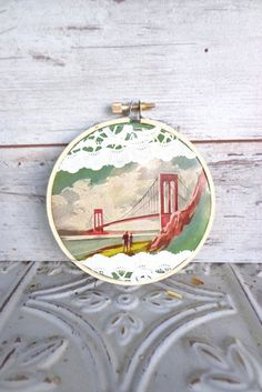 Vintage Embroidery Hoop Art Made with Upcycled Vintage Book