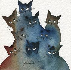 Watercolor kitties.