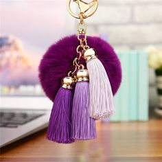 Cheap fur ball keychain, Buy Quality pom pom keychain directly from China ball keychain Suppliers: Hot sale Tassel Pompom Car Key Ring Pendant Fur Ball Keychain Rabbit Fur Plush Fur Key Chian POM POM Keychain Tassle Keychain, Diy Keychain, Tassel Necklace, Car Key Ring, Faux Fur Pom Pom, Purple Ombre, Rabbit Fur, Key Rings, Jewelry Sets