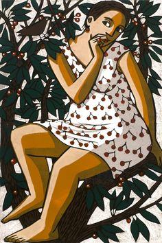 'Goddess of the Cherry Tree' - Original linocut printed in colours - by Anita Klein. Australian Painters, Australian Artists, Linocut Artists, Wood Engraving, Figure Painting, Figurative Art, Art Images, Printmaking, Contemporary Art