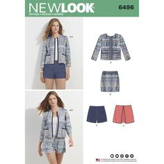 Misses suit separates are updated with a short jacket, skort, shorts or mini skirt meant to mix and match. Achieve the look with your favorite plaid or striped prints, or use denim for a more casual look. New Look sewing pattern.