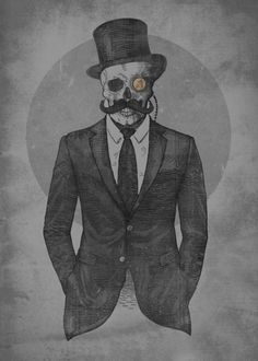 Displate Poster A Gentleman retro #vintage #classic #steampunk #moustache #tophat #suit #skull #skeleton