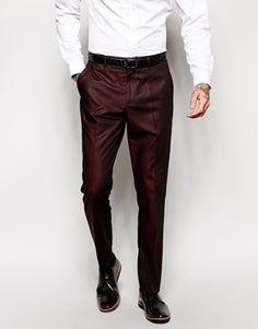 ASOS Slim Fit Suit In Burgundy Tonic