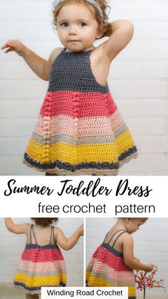 How to Crochet Toddler Dress Free Pattern - Winding Road Crochet Crochet a beautiful toddler baby dress. This dress has a simple shape with some beautiful extra details. Free crochet pattern by Winding Road Crochet. Crochet Baby Dress Free Pattern, Crochet Toddler Dress, Toddler Dress Patterns, Crochet Girls, Crochet Baby Clothes, Crochet For Kids, Crochet Dresses, Pattern Dress, Crochet Dress Girl