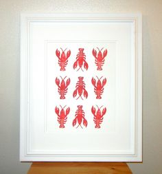 BLOCK PRINT Lobster -  Little Minnow Designs. From a distance it looks like the lobsters are spelling out YAY YAY YAY ! :-)