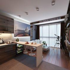 Cocina barra y living