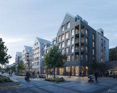 Nykvarn - by Reflex Reflex architects are modernizing the centre of Nykvarn with a mix of residential, offices and retail. Brick Architecture, Residential Architecture, Architecture Details, 3d Architectural Visualization, Architecture Visualization, Cgi, Monuments, Urban Planning, Hotels