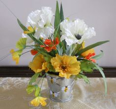 BUMBLE BEE Silk Floral Arrangement, Tabletop  by PebbleCreekDesigns