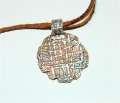 Silver Pendant Burlap Medallion on leather Woven by codysanantonio, $80.00