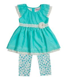 Love this Turquoise & White Floral Tunic & Capri Leggings - Toddler & Girls on #zulily! #zulilyfinds