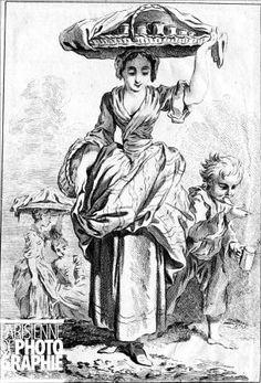 """PARIS - MARCHANDE DE CREME  Les Cris de Paris. """"A la crème"""". Gravure de Ravenet, d'après Boucher. B.N. ND-100700"""