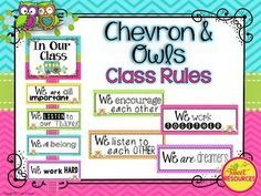 Classroom Rules Display Package. Display your classroom rules with this adorable Chevron and Owl themed poster set. This display was made with a positive spin, and a selection of rule cards have been created for your personal preference. Included in this package are editable cards for you to create your own classroom rules if you wish.