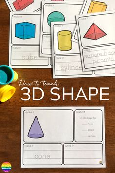 How to teach kids about 3D shapes in the early years. Includes hands-on ideas and printables for kindergarten and first grade.