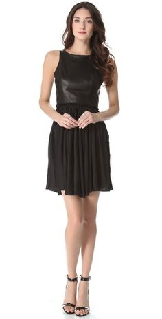 ONE by Shirred Waist Dress with Leather Bodice