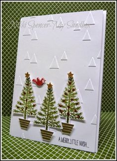 SU! Festival of Trees stamp set; Mossy Meadow and Real Red Ink; gold embossing powder; On Point embossing folder - Nikki Spencer