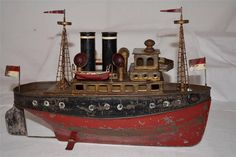 Vintage Marklin Heller et Coudray, Fleischmann Live Steam Tin Toy Harbor Boat | by oldsailro