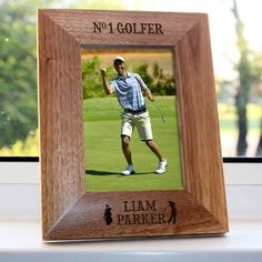 Personalised No.1 Golfer Photo Frame You can personalise this frame with his name, so that everyone knows that he is the only No1 Golfer around. Oak finished, you are able to personalise this gift with his name. (Barcode EAN=506034769259 http://www.MightGet.com/january-2017-13/personalised-no-1-golfer-photo-frame.asp