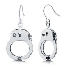 Handcuffs Dangle Earrings in Brass Alloy http://www.berricle.com/jewelry