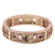 Manor House Rose Gold-Tone Floral Decal Filigree Stretch Bangle