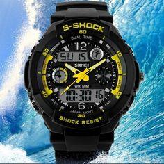 Relógio quartzo digital LED S choque New SKMEI luxo, esportes militares. Pulseira de borracha.