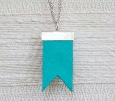 teal flag necklace