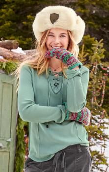 Chic accents lend this waffle-knit cotton top a sophisticated, distinctive allure.