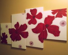 ALL CANVASES FREE SHIPPING! 4Piece Red Flower Canvas Painting by PaintUsCrafty on Etsy, $90.00 #giftideas #wallart #homedecor
