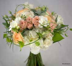 Stoneblossom garden bouquet of tea roses, blush tones, lambs ear and vine detail
