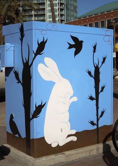 """The next time you're in the neighborhood, visit artist Linda Parker's """"Day Dreaming at Tempe Town Lake,"""" a utility box project located on the southwest corner of 7th Street and Mill Avenue."""