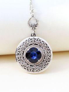 Saphir Locket Silver Locket bijoux collier par emmalocketshop