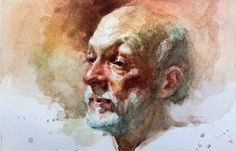 """4""""x6"""" watercolor portrait painting by Zimou Tan"""
