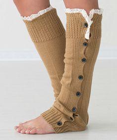 Light Brown Lace-Trim Button-Down Leg Warmers