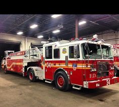 FDNY New Tiller Truck, Ladder 34. Real ladders have 2 drivers - my favorite kinda truck since I was a little girl