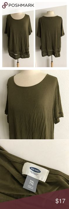 "Old Navy laser cut tshirt Old Navy green top. Size XXL. Measures 30"" long with a 48"" bust. See through laser cut panels. Extremely soft and stretchy! NWT.  💲Reasonable offers accepted ✅Bundle offers Old Navy Tops Tees - Short Sleeve"