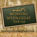 NextGen Homeschool: What's Working Wednesday Homeschool Blog Link-up #16 - posts on what's hot in homeschooling, free weather unit, math help, geography cake, ABC coloring sets and more!