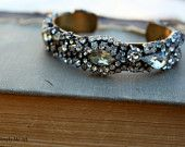 Vintage Encrusted Rhinestone and Brass Skinny Cuff Bracelet...Deux