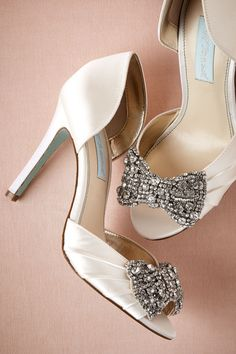 betsy johnson crystal bow satin pumps.  i wore these for my wedding - so darling and sexy.
