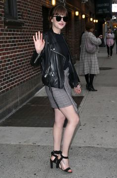 Dakota Johnson in a Biker Jacket and Tweed Skirt
