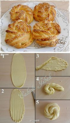 Croissant rosettes - How pretty! I've never seen this shape before. Not in english, but the diagram is enough. (Baking Pasta Vegetarian)