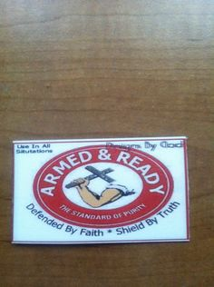 ARMED+&+READY magnet.Makes a great gift,can be put in card you are mailing. austinangelsandmore.storenvy.com