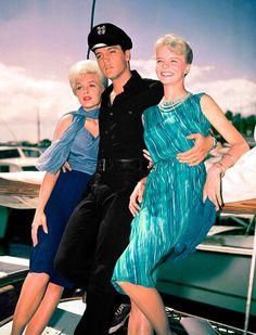 "Elvis Presley, Stella Stevens, and Laurel Goodwin in ""Girls! Girls! Girls!"" (1962)."