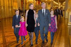 (L-R) Prince Gabriel, Princess Eleonore, Queen Mathilde, Prince Emmanuel, King Philippe and Princess Elisabeth of Belgium attend the Xmas Concert at the Royal Palace on 17.12.2014 in Brussel, Belgium.