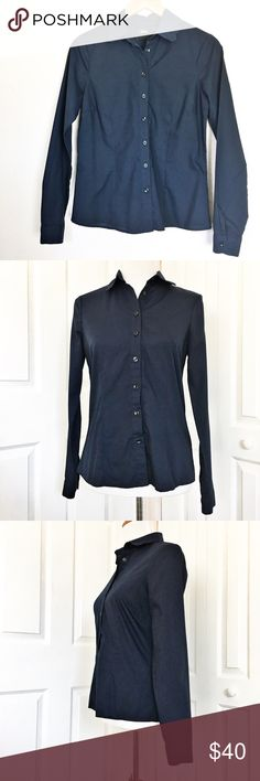 """Asos Button-Up Beautiful navy blue Button Up by Asos.  Top is in excellent condition and features a scalloped edged collar.  Material is 65% polyester and 35% cotton.  Measurements laid flat: bust 18"""" and length 23"""". ASOS Tops Button Down Shirts"""