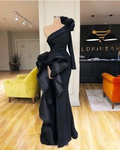 Mermaid One Shoulder Black Formal Cheap Modest Long Prom Dresses, evening dresses Glamorous Dresses, Glam Dresses, Event Dresses, Couture Dresses, Pretty Dresses, Fashion Dresses, Amazing Dresses, Hippie Dresses, Long Dresses